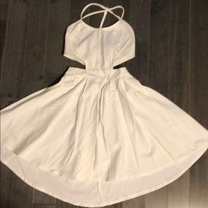 Cute white fit and flare cut out dress!!